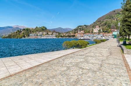 Lakeside promenade of city Laveno Mombello on the lake Maggiore shore in the province of Varese, Italy