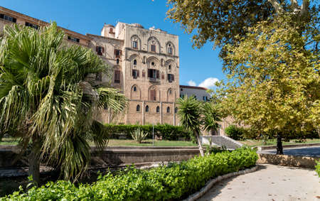 View of Norman Palace from Villa Bonanno, located in the oldest part of Palermo, Sicily. Editorial