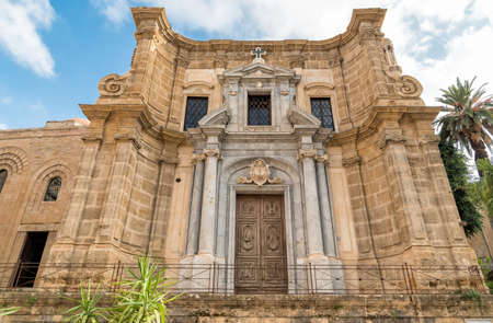 View of the baroque facade with the Romanesque belltower of Saint Mary of the Admiralty Church known as Martorana Church, Palermo, Italy