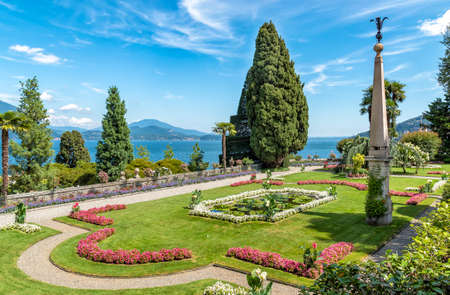 View of Baroque Garden of Beautiful Island - Bella Island with Lake Maggiore in background, Verbania, Italy
