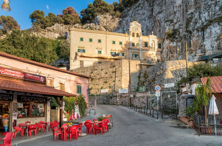 Palermo, Sicily, Italy - October 6, 2017: Sanctuary of Saint Rosalia on the Bonanno street with bars, restaurants and shops in the top of Monte Pellegrino in Palermo.