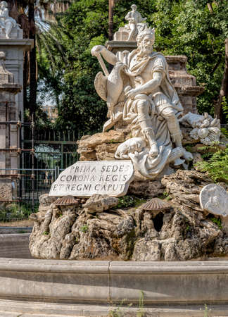A fonte do Genio no jardim villa Giulia em Palermo, Sicília, Itália
