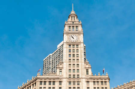 Wrigley Building, located directly across Michigan Avenue in Chicago, was built to house the corporate headquarters of the Wrigley Company, Illinois, USA Editorial
