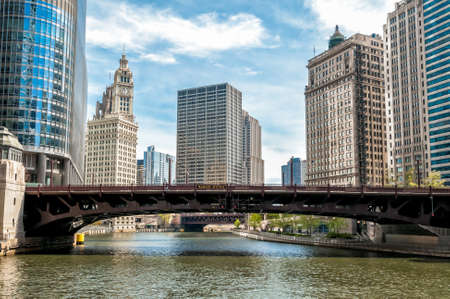 Cityscape with Wrigley Building and Wabash Avenue Bridge from Chicago river, Illinois, USA Stock Photo
