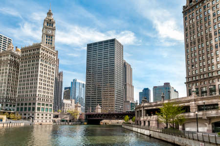Cityscape with Wrigley Building from Chicago river, Illinois, USA Stock Photo