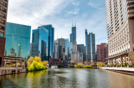 View of Chicago cityscape from Chicago River, Illinois, United States 写真素材