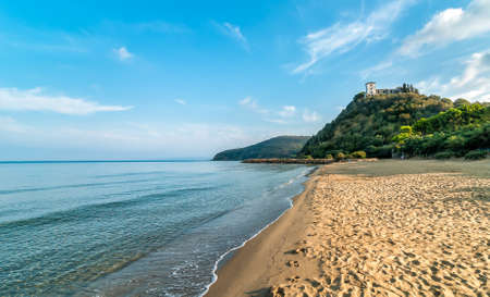 View of calm sea and Punta Ala beach in Tuscany, Italy Standard-Bild
