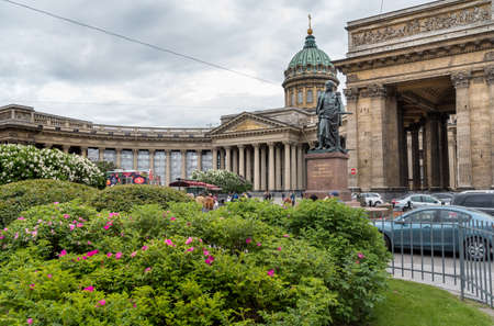 Saint Petersburg, Russia - June 14, 2015: View of Kazan Cathedral with Barclay de Tolley statues on the Nevsky Prospect in Saint Petersburg.
