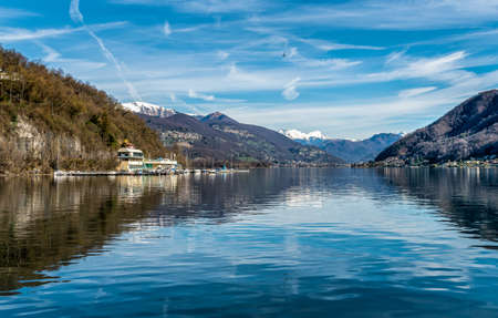 View of Lake Ceresio from Brusimpiano village, province of Varese, Lombardy, Italy