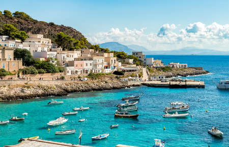 Levanzo, Sicily, Italy - September 22, 2016: View of Levanzo Island, is the smallest of the three Aegadian islands in the Mediterranean sea of ??Sicily.
