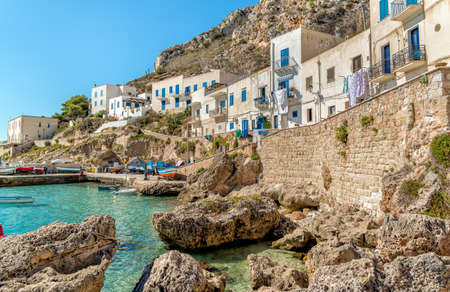 View of Levanzo Island, the smallest of the three Aegadian islands in the Mediterranean Sea of ??Sicily, Trapani, Italy
