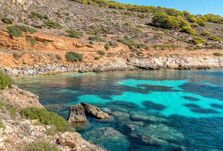 View of Cala Fredda beach on the Levanzo island in the Mediterranean Sea of ??Sicily, Trapani, Itay
