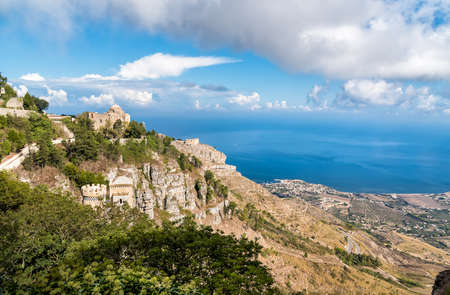 View of the Church of St. John the Baptist with panoramic view of mediterranean sea, province of Trapani in Sicily, Italy 版權商用圖片
