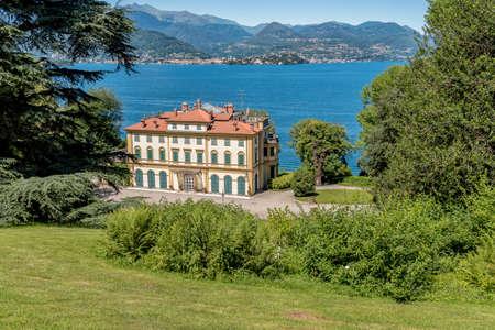 Stresa, Piedmont, Italy - June 14, 2018: View of Villa Pallavicino, the ancient residence on Lake Maggiore in Stresa, Italy