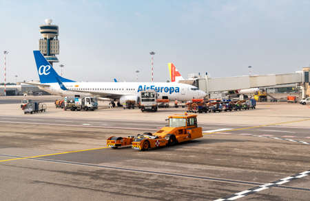 Ferno, Milan-Malpensa, Italy - October 10, 2018: AirEuropa Aircraft preparation for departure in Milan-Malpensa International Airport.