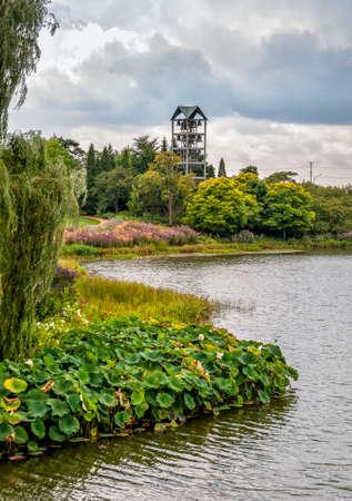 Evening Island with Bell Tower Carillon at the Chicago Botanic Garden, Glencoe, Illinois, USA