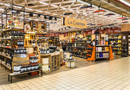 Varese, Italy - Marc 7, 2019: Wine shop The wine cellar, hypermarket, interior of the shopping center, Varese, Italy Editorial