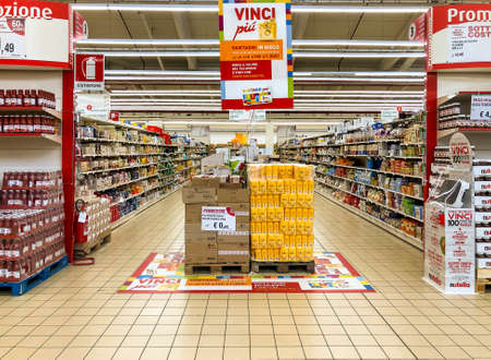 Varese, Italy - Marc 7, 2019: IPER of Varese hypermarket. Breakfast with bread and flour counter in promotion.