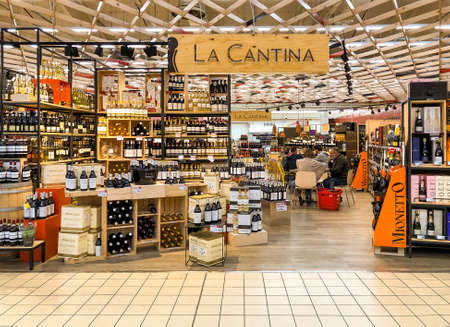 Varese, Italy - Marc 7, 2019: Wine shop The wine cellar, hypermarket, interior of the shopping center, Varese, Italy
