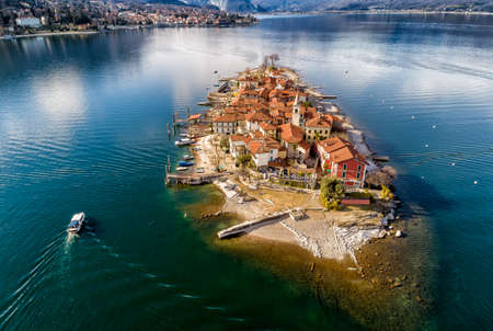 Aerial view of Fishermens Island or Fishermans Island at Lake Maggiore, is one of the Borromean Islands in Piedmont of north Italy, Stresa, Verbania Stock Photo