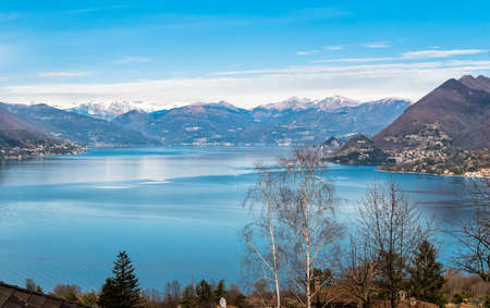 Landscape of Lake Maggiore on a clear winter day, Stresa, Piedmont, Italy