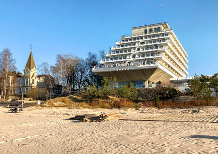 Jurmala, Latvia - April 3, 2019: Baltic Beach Hotel and SPA is a modern seaside resort, located on the Gulf of Riga in Jurmala Beach, Latvia Editorial