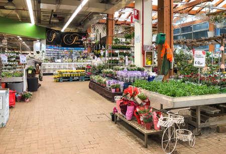 Varese, Italy - Marc 7, 2019: Gardening department inside of the IPER of Varese hypermarket, interior of the shopping center, Varese, Italy