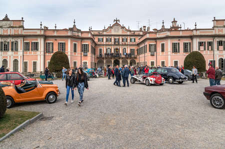 Varese, Italy - March 2, 2019: Demonstration parade of the Historic Cars in the Gardens of the Estense Palace (Palazzo Estense) in Varese, Italy