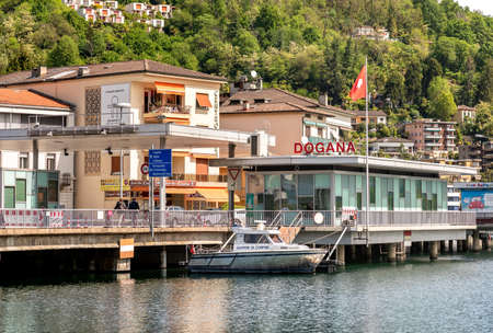 Lavena Ponte Tresa, Italy - May 3, 2019: Border Checkpoint between Italy and Switzerland on lake Lugano in Lavena Ponte Tresa, Italy