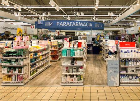 Varese, Italy - Marc 7, 2019: Pharmacy department inside of the IPER of Varese hypermarket.