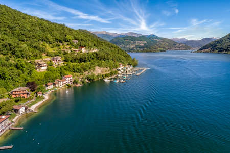 Landscape of Lake Lugano from small village Brusimpiano, province of Varese, Lombardy, Italy Reklamní fotografie