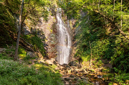The waterfall called Pesegh or Pesech in Brinzio, Valcuvia, province of Varese, Italy.