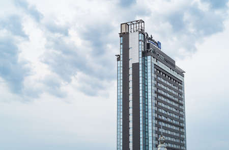 Riga, Latvia - September 8, 2019: View of Radisson Blu hotel, is a premier accommodation in center of Riga, Latvia 新聞圖片