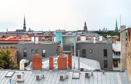 View on the roofs in historic center of Riga, Latvia 版權商用圖片