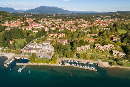 Aerial view of Ispra, is small town on the coast of Lake Maggiore in province of Varese, Lombardy, Italy Imagens