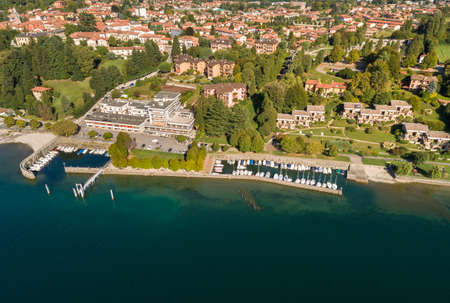 Aerial view of the pier of Ispra, is small town on the coast of Lake Maggiore in province of Varese, Lombardy, Italy