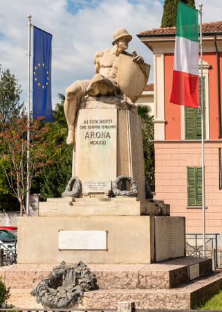 Arona, Piedmont, Italy - September 25, 2019: War Memorial in square de Filippo in center of Arona, province of Novara, Italy Editorial
