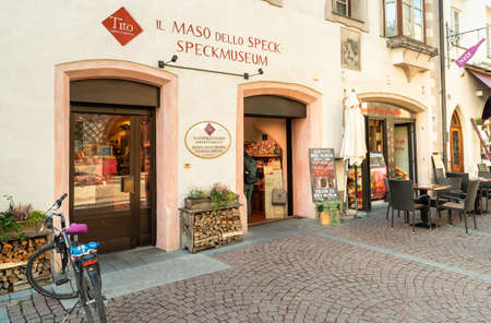 Bruneck - Brunico, South Tyrol, Italy - October 11, 2019: Speckmuseum, a traditional shop located in the main street of historic center in Bruneck, Italy