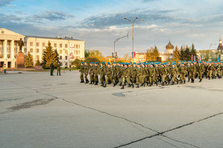 Pskov, Russian Federation - May 4, 2018: Female National Military troops of Ministry of Internal Affairs of Russia on the rehearsal of parade in honor of Victory Day in Pskov. Editorial