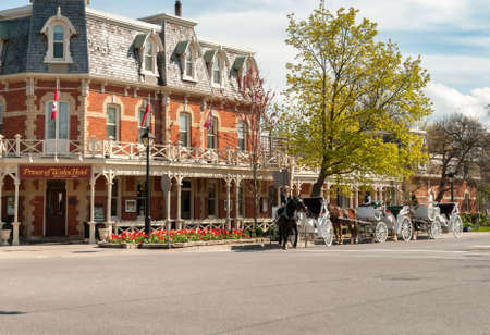 Niagara-on-the-Lake, Canada - April 25, 2012: View of the historic Prince of Wales Hotel in the center of Niagara-on-the-Lake, Canada