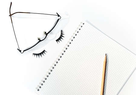 Pencil over open notepad with glasses and eyelashes, business concept. Standard-Bild