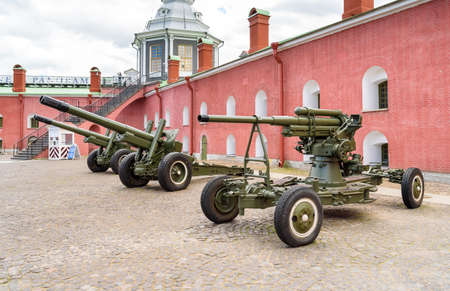 Saint Petersburg, Russia - June 17, 2015: Old artillery cannons in Naryshkin Bastion of Peter and Paul Fortress.