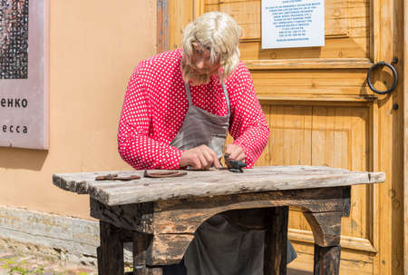 Saint Petersburg, Russia - May 15, 2015: Wax statue of a craftsman on territory of Peter and Paul Fortress in Saint Petersburg.