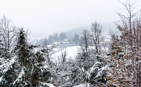 Winter landscape of the small village Ferrera di Varese located in the hills north of Varese, Lombardy, Italy