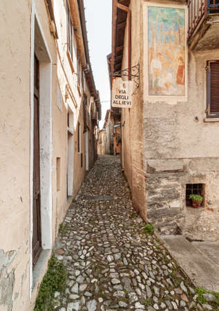 Ancient street at painters village Arcumeggia in the province of Varese, Italy.