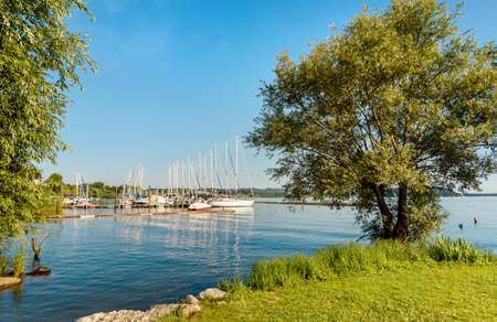 Small tourist port Sasso Moro on Lake Maggiore, Leggiuno, Lombardy, Italy
