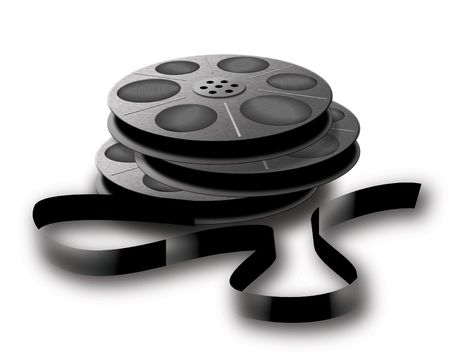 3 old spools with tape. Photo, video or audio tape. photo