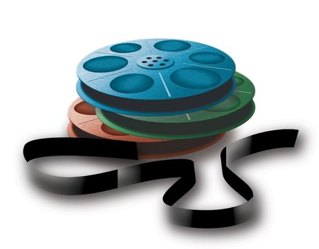 16mm: 3 spool with tape. Different colors.