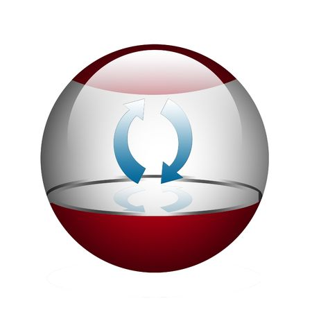 glas: Refresh mark in the sphere. Stock Photo