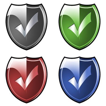 safeness: Shield. Armor. Tick mark. Stock Photo